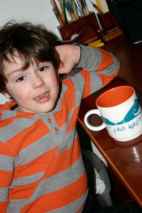 Benjamin and my favorite Blue Whale mug o' names...