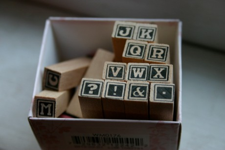 I'm trying not to buy new craft supplies, but I needed a tiny alphabet for this project. These were $1 at A.C. Moore.